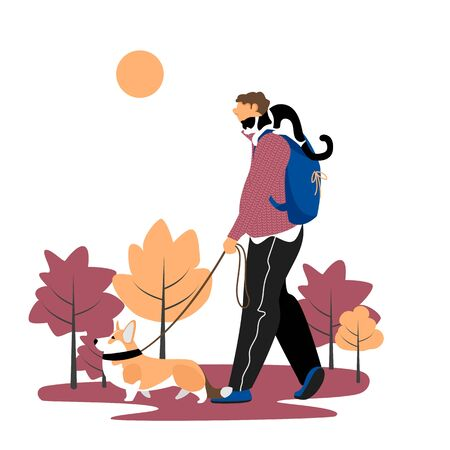 a man walks with a dog. Pets. a man with a dog and a cat. vector illustration Ilustração