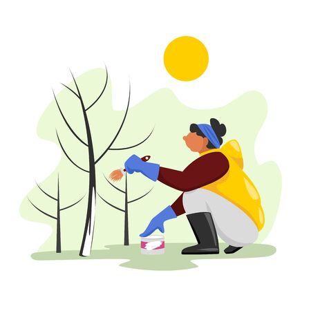 a woman paints a tree with a protective compound. vector image of a person working in a garden