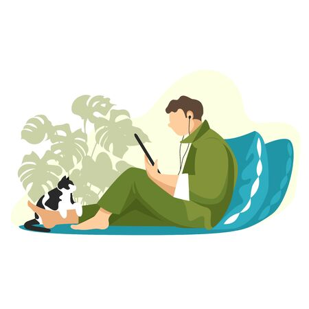 a person is sitting in bed and reading a book on a tablet. a man at home with a cat. vector