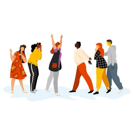 happy people. people meet after separation. vector illustration of people of different races and genders 免版税图像 - 145761445