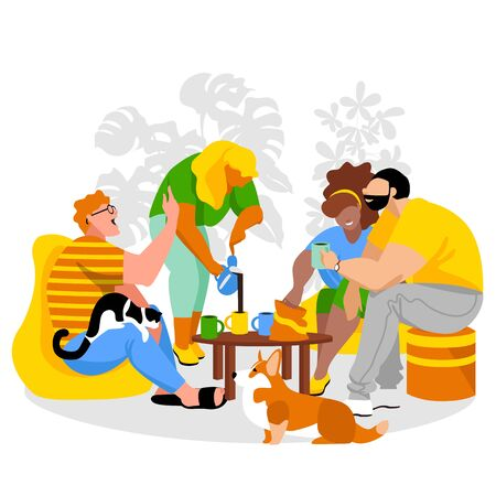people communicate. friends. people are celebrating. tableful. vector image of people and Pets. family 免版税图像 - 145761612