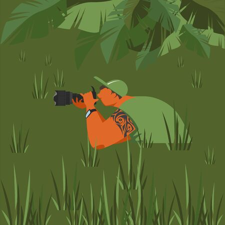 photographer. photojournalist. vector illustration of a man with a camera in a swamp. a man waiting for a shot 免版税图像 - 145761691