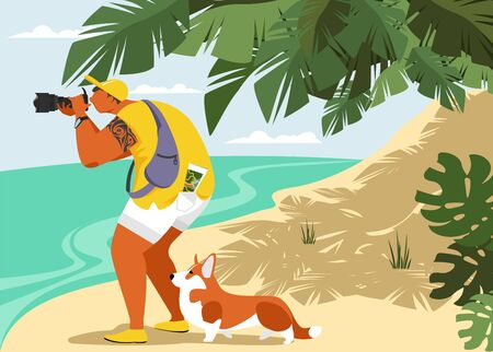 photographer. tourist. vector illustration of a man with a camera on the beach. a man with a dog on vacation