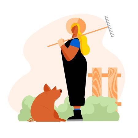 farmer. vector illustration of a female farm worker. agricultural industry. farming. pig breeding