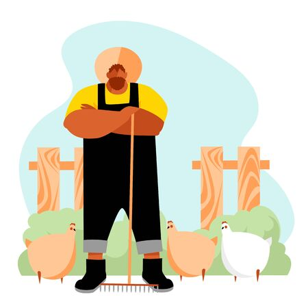 farmer. vector illustration of a male farm worker. agricultural industry. farming. chicken farm 免版税图像 - 146353349