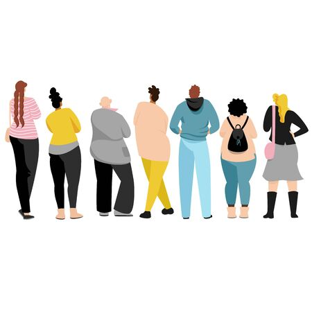 people in the back. people stand back. view of people from behind. vector isolated images