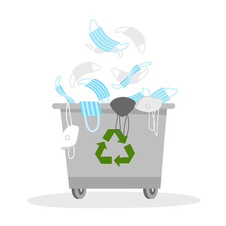 the end of quarantine. trash can with medical masks. stop the virus. vector image