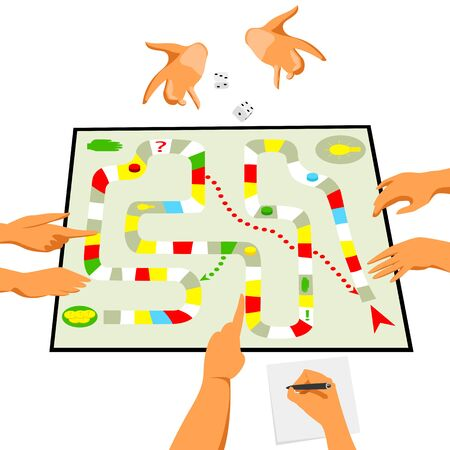 board game. vector illustration of people playing a Board game. gambling. people play 矢量图像