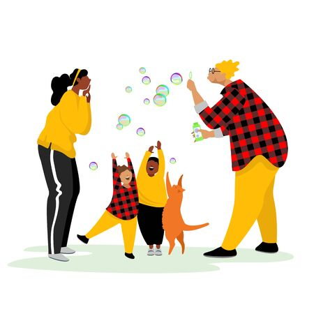 happy family. bubble. children play with a cat. parenting of children. vector image 矢量图像