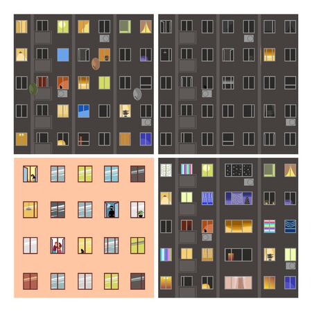 Windows of houses. a set of vector images of facades. dark and light Windows. people at home 免版税图像 - 148327975