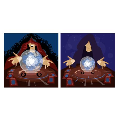 witch. a set of vector images of wizards. prediction on a crystal ball. cartomancy 免版税图像 - 146958833