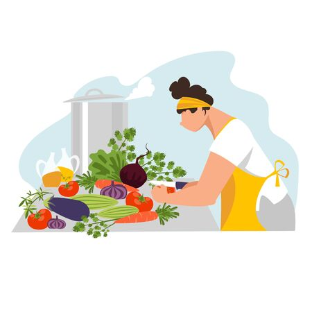 cook.the cook prepares food. vector image of a cook in the kitchen. cooking 免版税图像 - 148248813