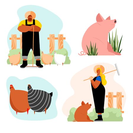 farm. farming. a set of vector images of people engaged in farming. cattle and chickens