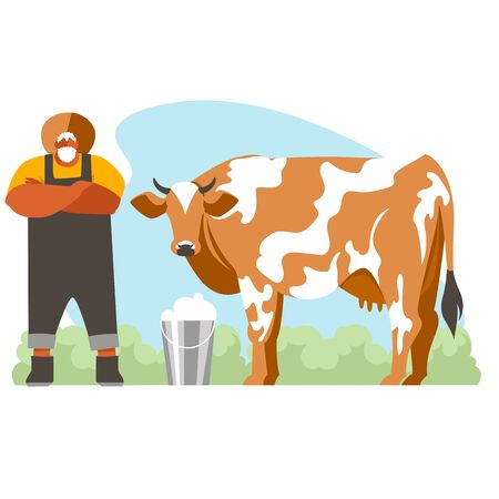 farmer. milkman. a man engaged in the production of milk. cattle. vector illustration 免版税图像 - 148327976