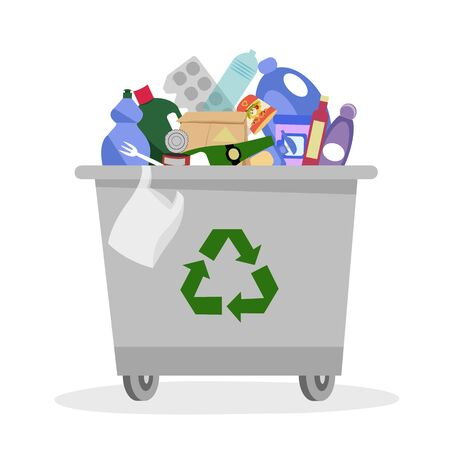 garbage. garbage can. container with waste. waste disposal. vector illustration. packaging recycling