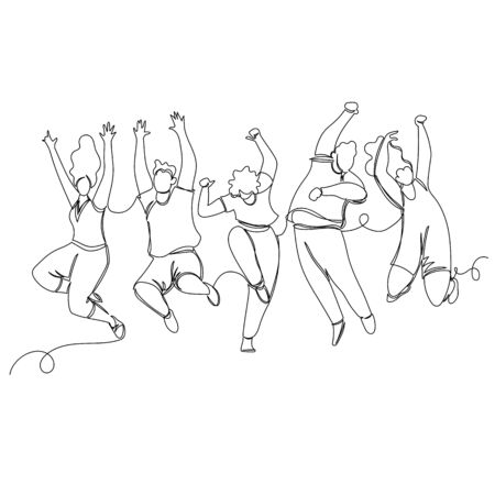 happy people. vector image of people in one continuous line. contour image