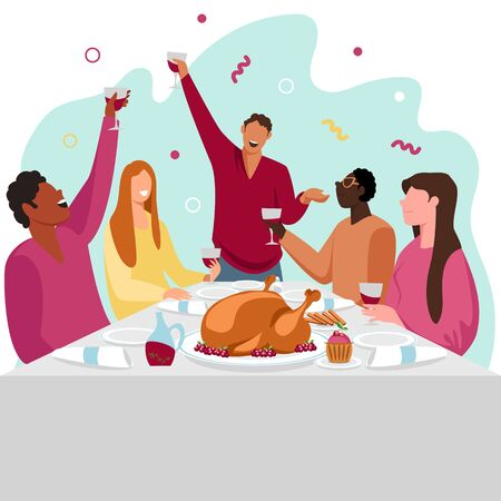 people are celebrating. people eat at the table. festive table. vector image