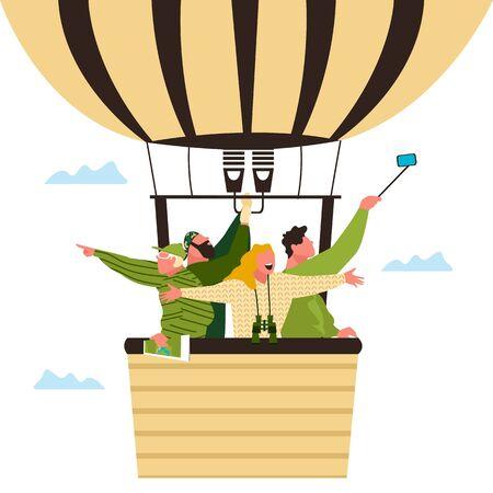 people in a balloon. aeronautics. tourists in the air. vector illustration 矢量图像