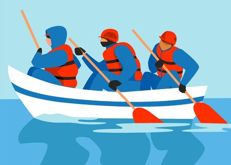 people in the boat. rescuers. saving people in a flood. vector illustration of rescuers in a boat 免版税图像 - 148246928