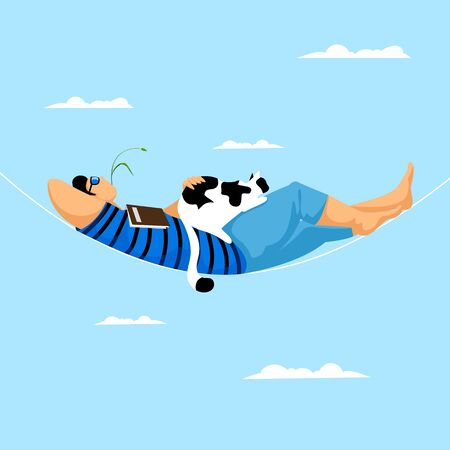 a man in a hammock. vector image of a resting person with a cat. a man rests against the sky with a book 矢量图像