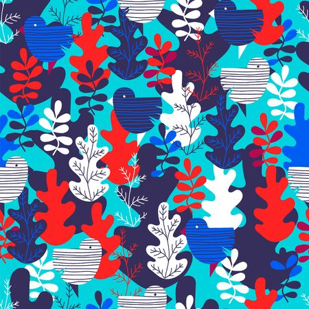 colored leaves. vector seamless pattern with colored leaves and birds. colored background