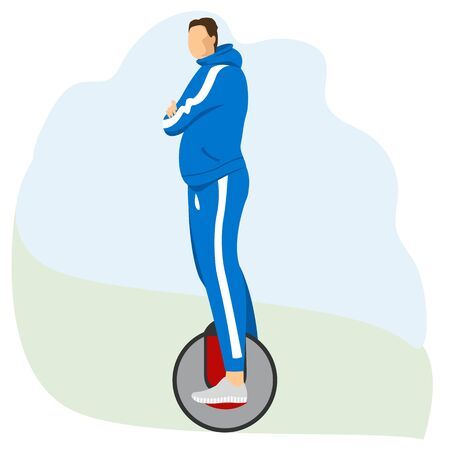 man on a unicycle. athlete on the electric wheel. vector image of a person on electric transport 免版税图像 - 149078882