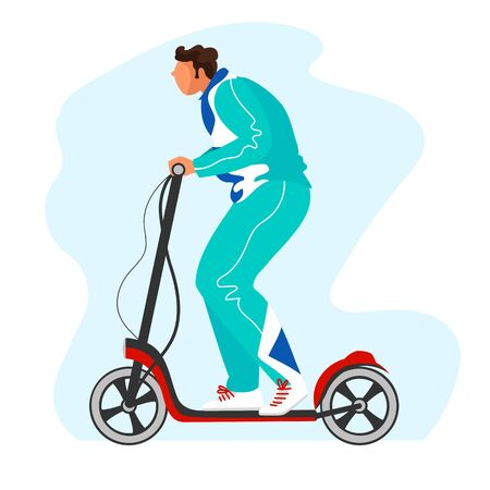 man on an electric scooter. an athlete on an electric scooter. vector image