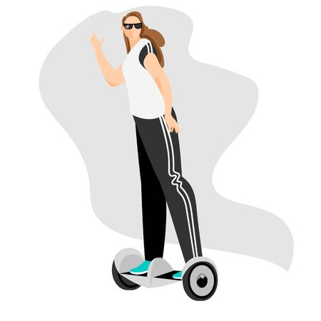 woman on a self-balancing scooter. vector image 免版税图像 - 149696287