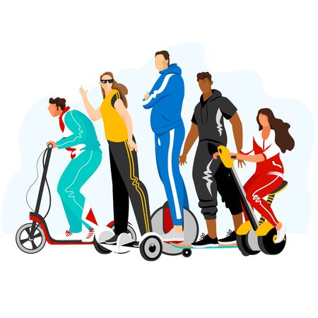 the people on the electric vehicle. a set of isolated vectors. vector image of people on electric transport Illustration