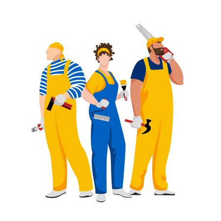 working man. team of builders. people of working professions. vector isolated image