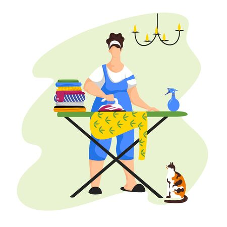 a woman is Ironing clothes. vector image of a person doing homework 일러스트