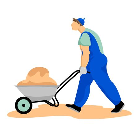 a working man with a wheelbarrow. vector illustration of a working man. a man carries sand in a wheelbarrow