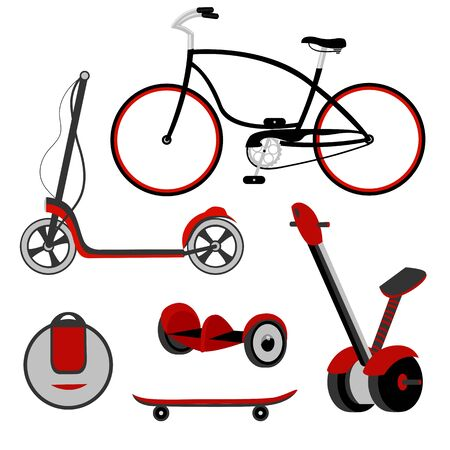 bicycle. scooter. self-balancing scooter. skateboard. monocycle. electric transport. sports transport. vector. set Illustration