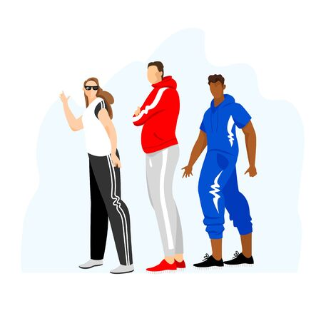 people in sports clothes. sportsmen. set of vector images of people in tracksuits