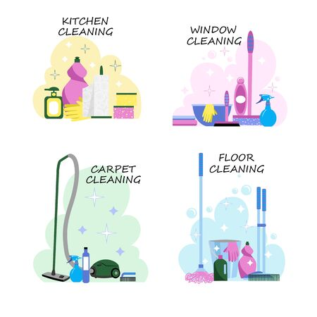 a set of vector images with cleaning products for various surfaces and rooms