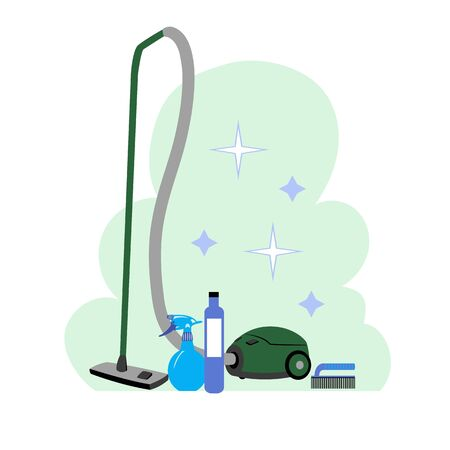 carpet cleaning. vector image of a set of carpet cleaning products 免版税图像 - 150164761
