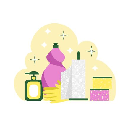 kitchen cleaning. vector image of a set of cleaning products and appliances for cleaning the kitchen 일러스트