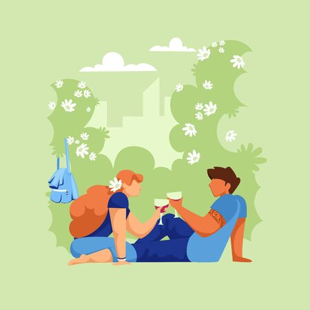people on a picnic. vector illustration of a couple of people in nature. people are resting 일러스트