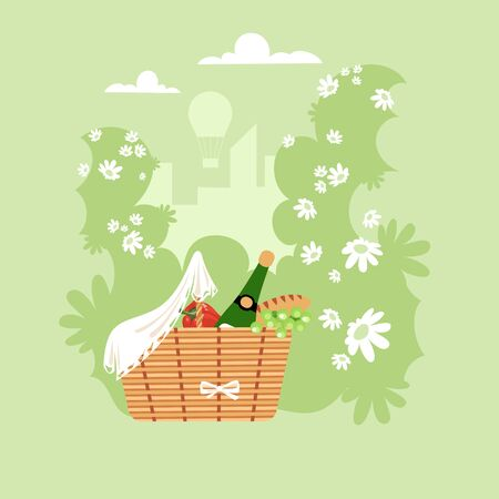 picnic. basket with food and drinks in nature. preparing for a picnic. vector illustration