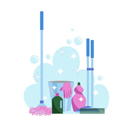 washing of floors. vector image of a set of cleaning products and devices for cleaning floors Illustration