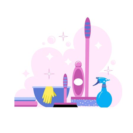 washing Windows. a set of tools and tools for washing and cleaning Windows and glasses. vector
