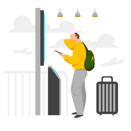 a man at the airport. a man looks at the scoreboard in the airport hall. vector illustration
