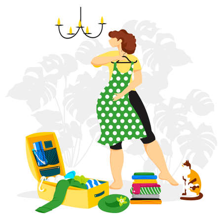 packing the suitcase. a woman collects a suitcase. vector image