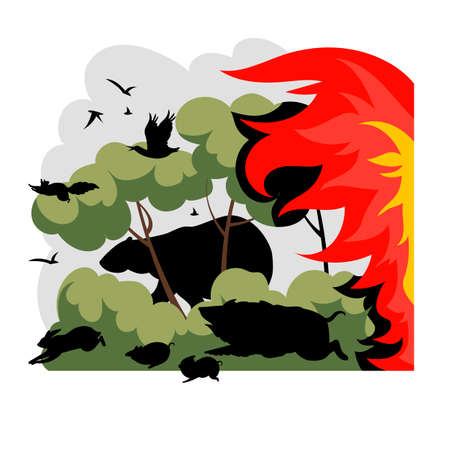 forest fire. vector image of wild animals running from fire in the forest