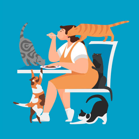 woman and cats. a woman eats in the presence of cats. Pets during meals. vector illustration 矢量图像