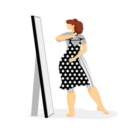 fitting clothes. vector image of a woman trying on a dress in front of a mirror Illustration