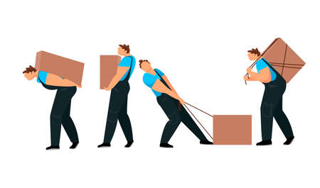 a man with a load. a worker loads boxes. a person carries a heavy load. 矢量图像