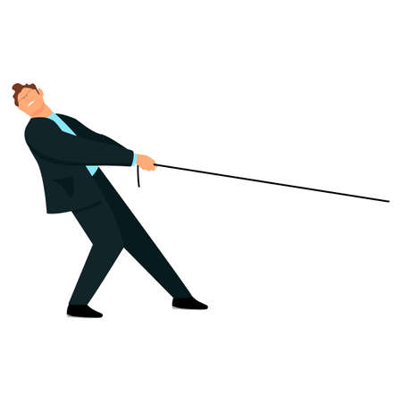 the man pulls the rope. the businessman pulls the rope. Illustration