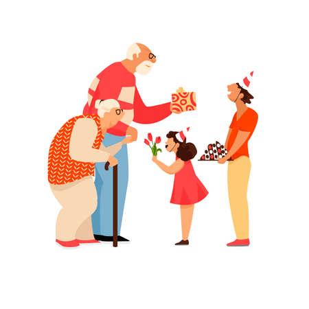grandchildren congratulate their grandparents. children and the elderly. Illustration
