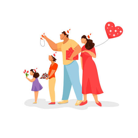 family celebration. image of parents and children. congratulations in the family 免版税图像 - 152085579